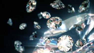 Slowly falling diamonds, beautiful background. seamless looped 3d animation — Stock Video