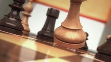 Checkmate, the fall of chess king. beautiful 3d animation, made in slow motion with depth of field — Stock Video