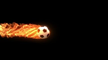 Burning soccer ball is slowly flying on black background, 3d animation with an alpha matte — Stock Video
