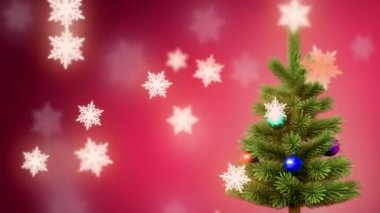 Christmas tree and falling snowflakes background, — Stock Video