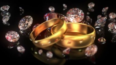 Wedding rings and diamonds — Stock Video