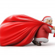 Santa Claus with a heavy bag of gifts — Stock Photo #50998465