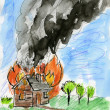 Stock Photo: Burning house