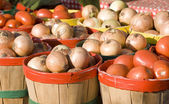 Baskets of onions and tomatoes — Stock Photo