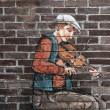 Mural of a fiddler — Stock Photo