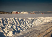 Fresh white snow in a rural area of prince edward island — Stock Photo