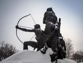 Native statue quebec city — Stock Photo