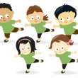 Kids working out - Stock Vector