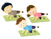 Kids on mats — Stock Vector