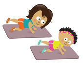 Mother and daughter working out — Stock Vector