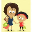 Mother and daughter shopping — Stock Vector #18629851
