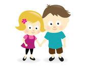Kids holding hands — Stock Vector
