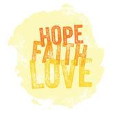 Vintage Christian design Hope, Faith, Love — Stock Vector
