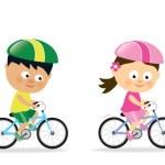 Girl and boy biking — Stock Vector #19964861