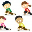 Kids doing leg stretches - Stock Vector