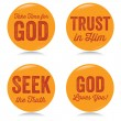 Vintage Christian buttons, yellow - Stock Vector