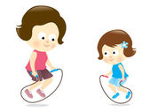 Mother and daughter jumping rope — Stock Vector
