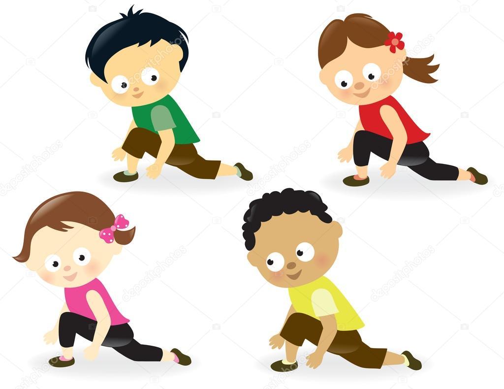 插图的可爱的孩子在做腿部拉伸 — 矢量图片作者 wetnose