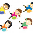 Kids exercising with ball - Stock Vector