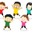 Kids doing Jumping Jacks - Stock Vector