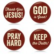 Vintage Christian buttons, red — Stock Vector