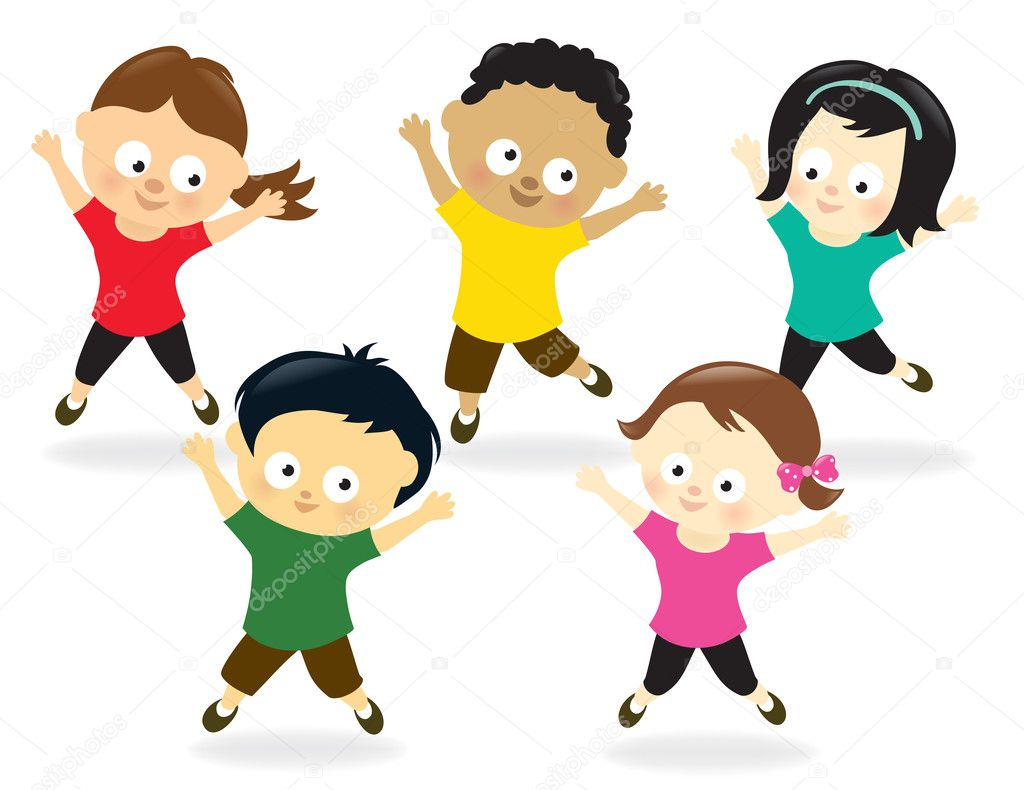 Jumping Jacks Cartoon Kids Doing Jumping Jacks