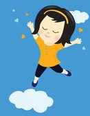 Happy girl on cloud nine — Stock Vector