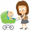 Woman with baby carriage 2 — Stock Vector