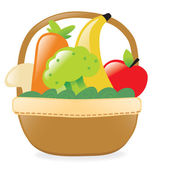 Fresh fruits and veggies in a basket — Stock Vector