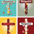 Floral set of crosses, Forgiven — Stock Vector