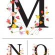 Decorative super caps letters M, N, O, — Stock Vector