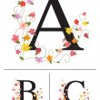 Decorative super caps letters A, B,C, — Stock Vector