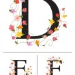 Decorative super caps letters D, E, F, - Stock Vector