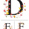 Decorative super caps letters D, E, F, — Stock Vector
