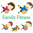 Family fitness with exercise ball - Stock Vector