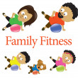 Family fitness with exercise ball 2 — Stock Vector