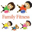 Family fitness with exercise ball 2 - Stock Vector