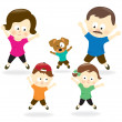 Stock Vector: Family doing jumping jacks