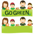 Go green family — Stock Vector