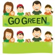 Stock Vector: Go green family