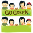 Go green family 2 — Stock Vector