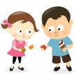 Girl and boy sharing sweets and fruits — Stock Vector