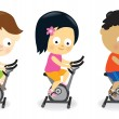 Kids riding exercise bikes — Stock Vector