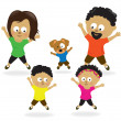 Stock Vector: Family doing jumping jacks 2