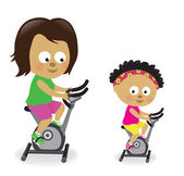 Mother and daughter riding exercise bikes 2 — Stock Vector
