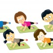 Adults exercising on mats — Stock Vector