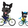Dogs riding bikes — Stock Vector