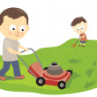 Father and son mowing and raking — Stock Vector