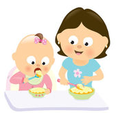 Baby girl eating w mom watching her — Stock Vector