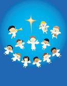 Angels praising the birth of Jesus — Stock Vector